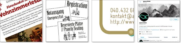 Ausschnitte aus Grafikdesign für Branding, Marken-Design, Corporate Identity, Visitenkarte, Geschäftsausstattung