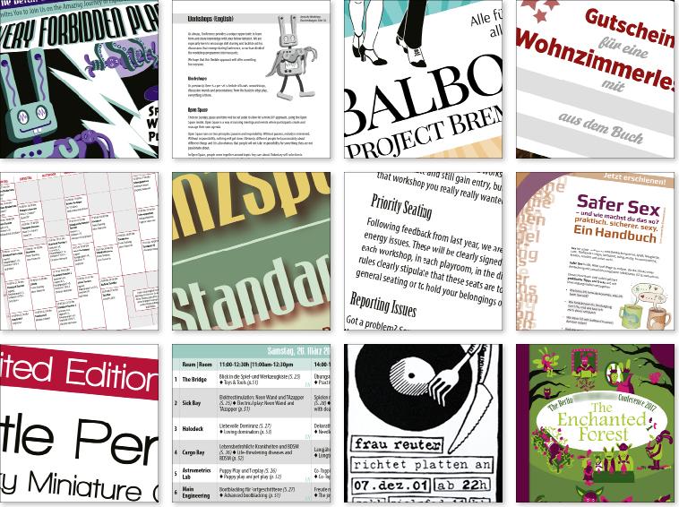 Ausschnitte aus Grafikdesign für Flyer, Broschüre, Programmheft, Layout