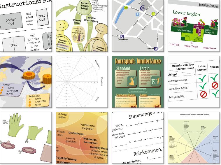 Ausschnitte aus Grafikdesign für Infografik, Schaubild, Skala, Diagramm, Lageplan, Karte, Anleitung, Tabelle