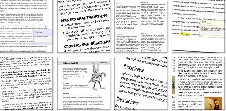 Ausschnitte aus Textgestaltung, Text-Erstellung, Lektorat, Übersetzung (Deutsch / Englisch), Korrektur lesen, Sensitivity Reading